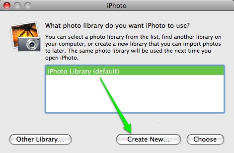 create new library iphoto
