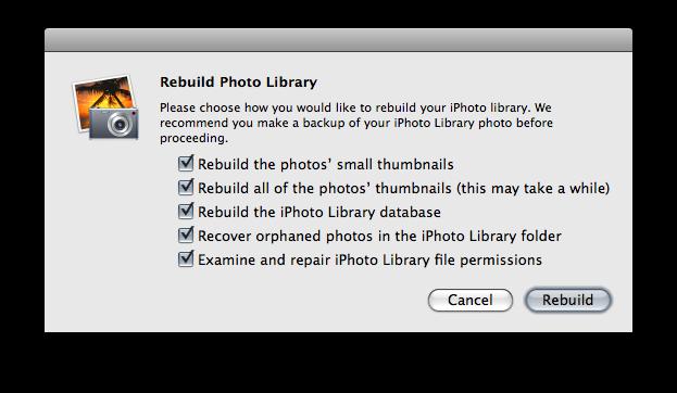 rebuild iphoto library